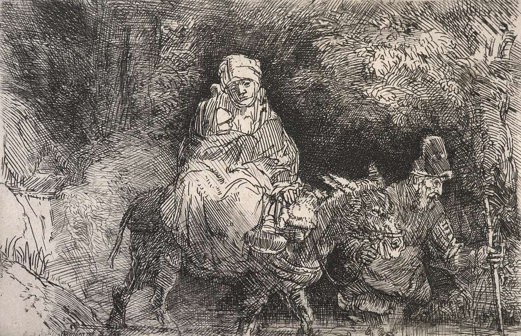 The flight into Egypt: crossing a brook.