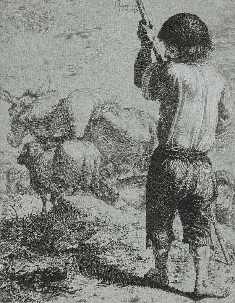 No title. (Shepherd with sheep and donkey).