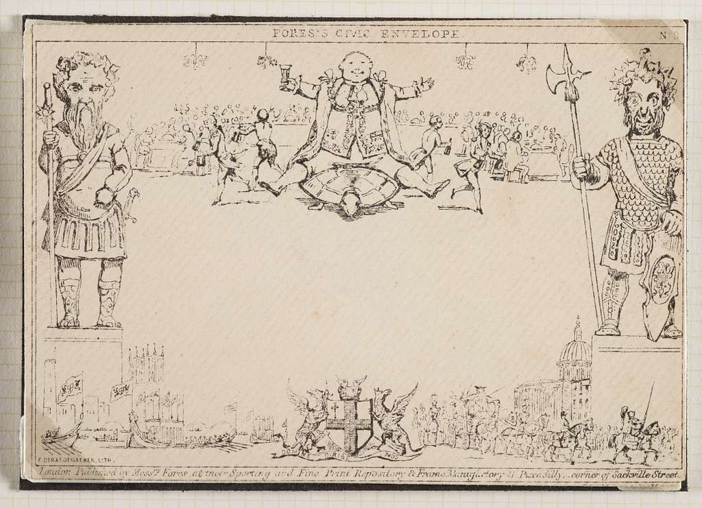 Philatelic 'cover' [envelope], Mulready caricature - 'Fores's Civic Envelope No. 8'