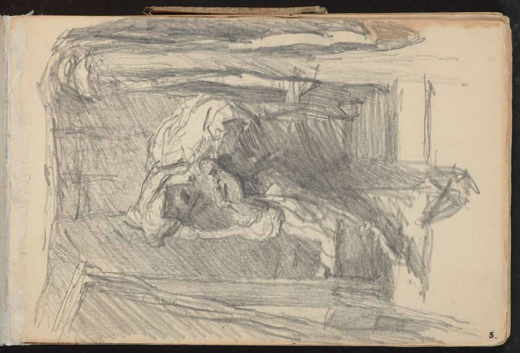 Pencil drawing. Possibly horse head in a stable box. From: A 1907/08 sketchbbook