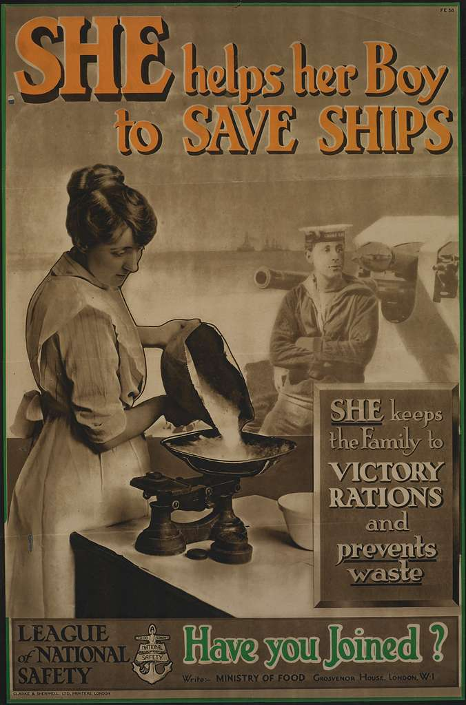 Poster, 'She helps her Boy to Save Ships'