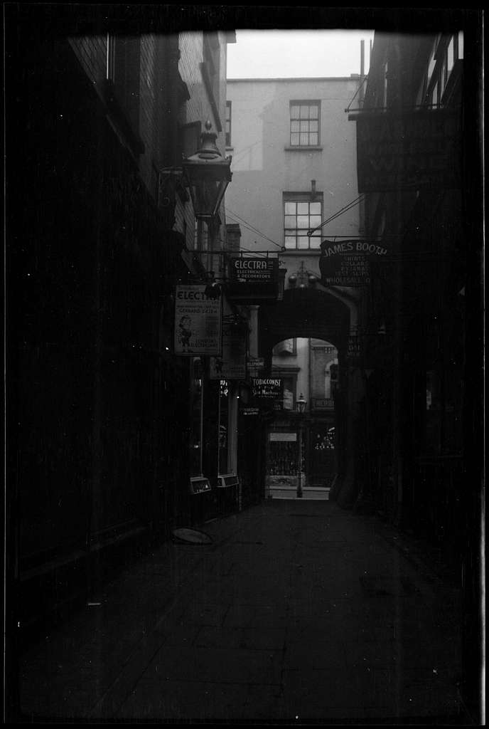 English town street scene